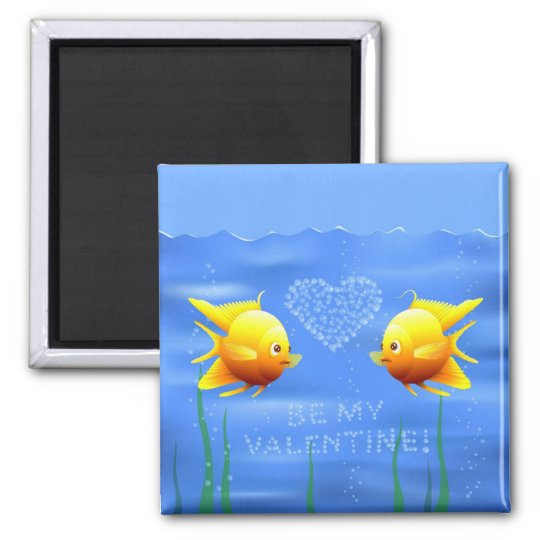 Valentine's Fishes Square Magnet