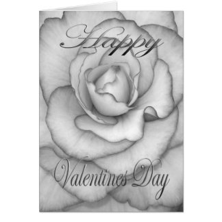 Valentines Flower white and black Card