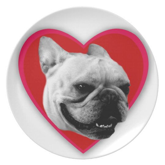 Valentine's French Bulldog Plate