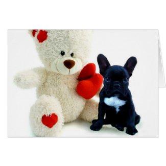Valentine's French Bulldog puppy Greeting Card