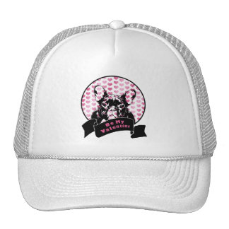 Valentines - french Bulldog Silhouette Trucker Hats
