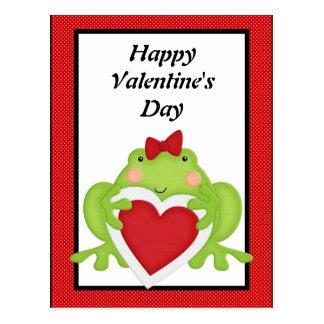 Valentines frog holiday greeting postcard