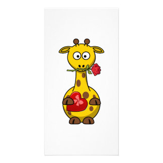 Valentine's Giraffe With Rose Customized Photo Card