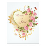 Valentines - Gold Striped Heart with Roses 11 Cm X 14 Cm Invitation Card