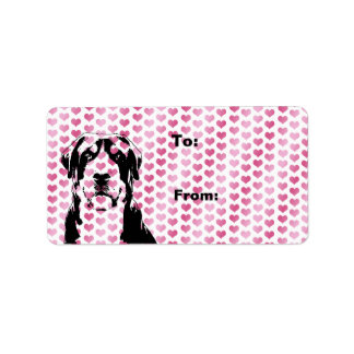 Valentines - Greater Swiss Mountain Dog Silhouette Address Label