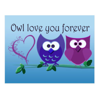 Valentine's Greeting Card with Cute Owls Postcard