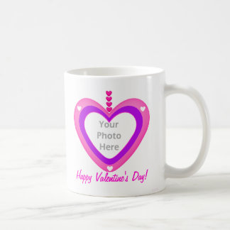 Valentines Heart Layers (photo frame) Basic White Mug
