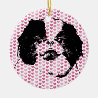 Valentines - Japanese Chin Silhouette Double-Sided Ceramic Round Christmas Ornament
