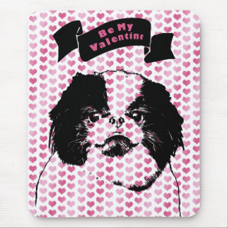 Valentines - Japanese Chin Silhouette Mouse Pad