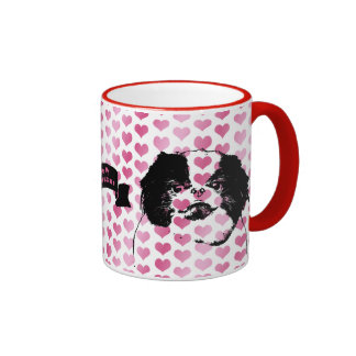 Valentines - Japanese Chin Silhouette Coffee Mugs