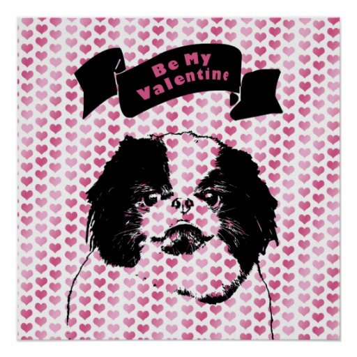 Valentines - Japanese Chin Silhouette Posters
