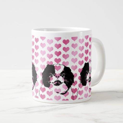 Valentines - Japanese Chin Silhouette Jumbo Mugs