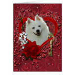 Valentines - Key to My Heart - American Eskimo Greeting Card