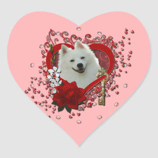 Valentines - Key to My Heart - American Eskimo Stickers