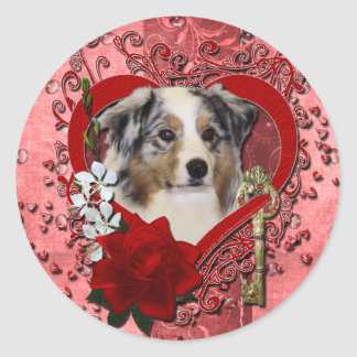 Valentines - Key to My Heart - Australian Shepherd Classic Round Sticker
