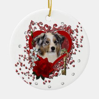 Valentines - Key to My Heart - Australian Shepherd Christmas Ornaments