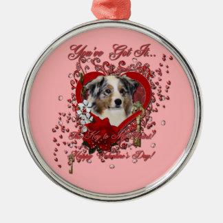 Valentines - Key to My Heart - Australian Shepherd Christmas Tree Ornament