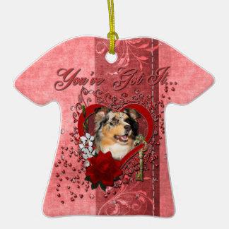 Valentines - Key to My Heart - Australian Shepherd Christmas Tree Ornaments