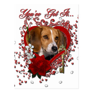 Valentines - Key to My Heart - Beagle Postcards