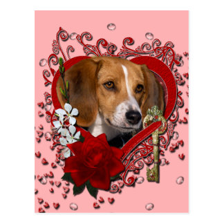 Valentines - Key to My Heart - Beagle Post Cards