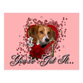 Valentines - Key to My Heart - Beagle Postcard