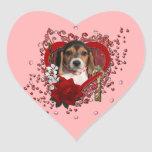 Valentines - Key to My Heart - Beagle Puppy Stickers