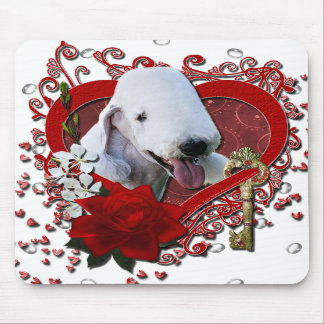 Valentines - Key to My Heart - Bedlington Terrier Mouse Pads