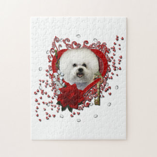 Valentines - Key to My Heart - Bichon Frise Jigsaw Puzzle