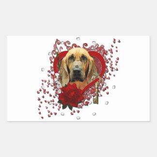 Valentines - Key to My Heart - Bloodhound - Penney Rectangular Sticker