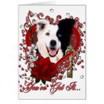 Valentines - Key to My Heart - Border Collie Greeting Card