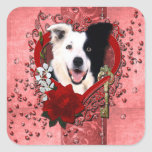 Valentines - Key to My Heart - Border Collie Square Stickers