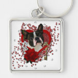 Valentines - Key to My Heart - Boston Terrier Silver-Colored Square Key Ring