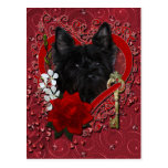 Valentines - Key to My Heart - Cairn Terrier Postcard