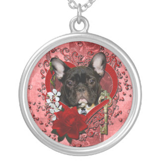 Valentines - Key to My Heart - French Bulldog Silver Plated Necklace