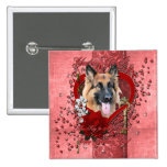 Valentines - Key to My Heart - German Shepherd 15 Cm Square Badge