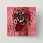 Valentines - Key to My Heart -German Shepherd Kuno 15 Cm Square Badge