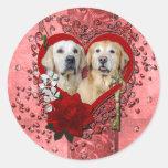 Valentines - Key to My Heart - Goldens - Corona Te Round Sticker