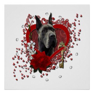 Valentines - Key to My Heart - Great Dane - Grey Poster