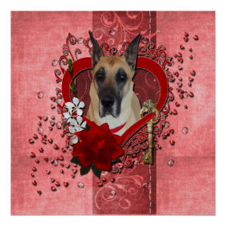 Valentines - Key to My Heart - Great Dane Poster