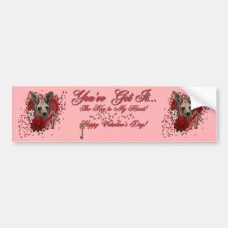 Valentines - Key to My Heart - Kangaroo Bumper Stickers