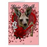 Valentines - Key to My Heart - Kangaroo Greeting Card