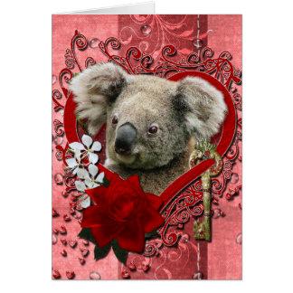 Valentines - Key to My Heart - Koala Bear Card