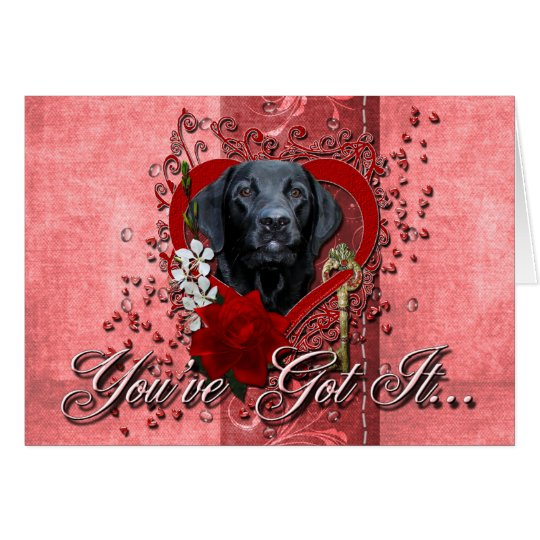 Valentines - Key to My Heart - Labrador - Black Card