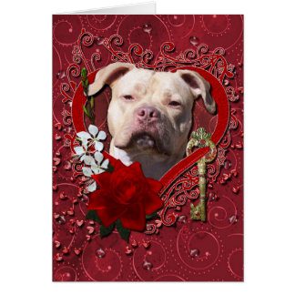 Valentines - Key to My Heart - Pitbull Jersey Girl Greeting Card