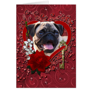 Valentines - Key to My Heart - Pug Cards