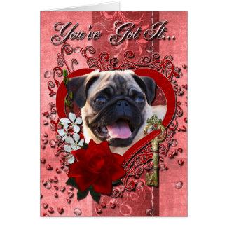 Valentines - Key to My Heart - Pug Card