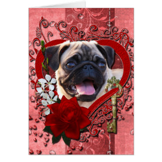 Valentines - Key to My Heart - Pug Greeting Card