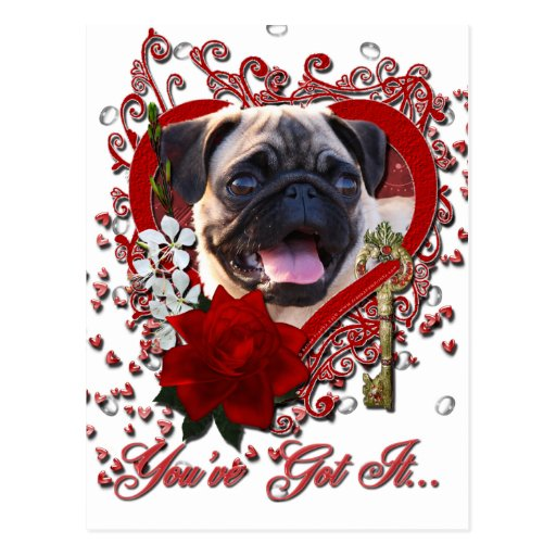 Valentines - Key to My Heart - Pug Post Cards