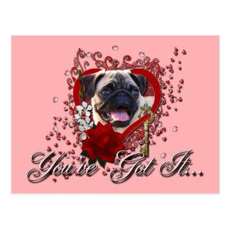 Valentines - Key to My Heart - Pug Postcards