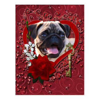 Valentines - Key to My Heart - Pug Post Card
